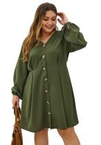 Vestido camisero verde con botones y tallas grandes