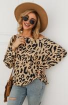 Afdrukken Leopard shirt met vleermuismouwen