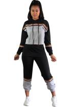 Sudadera con capucha y manga larga en contraste deportivo