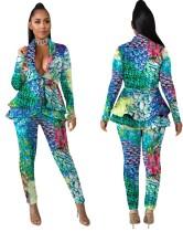 Conjunto de pantalón y blazer africano con estampado de sirena