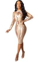Pailletten Sexy Party Langarm Midi Kleid
