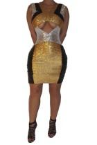 Payetler renkli kolsuz parti elbise kesip