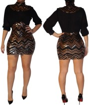 Sequins High Neck Wavy Party Dress