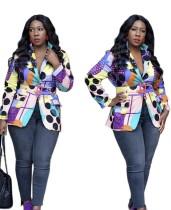 Kemer ile Afrika Renkli Uzun Kollu Blazer