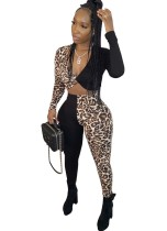 Leopard Patchwork Sexy Crop Top und Hosen Set