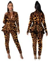Leopardenmuster African Peplum Blazer und Hosen Set