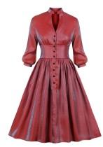 Pop kollu düz katı vintage patenci elbise