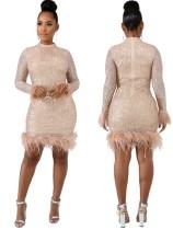 Vestido de fiesta de manga larga de lentejuelas