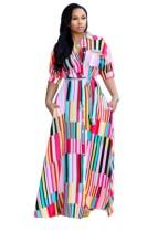 Vestido largo de rayas africanas de talla grande