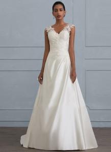 Beyaz Kolsuz V Yaka Düğün Balo