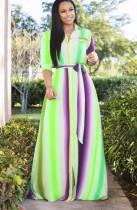 Maxi abito Africa maniche lunghe a righe colorate taglie forti