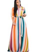 Plus Size bunt gestreiften halben Ärmeln Afrika Maxi-Kleid