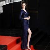 Sequins V-Neck Long Sleeves Slit Evening Dress