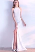 Plain Solid Neckholder Slit Mermaid Abendkleid