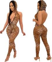 Sexy rückenfreier Hoody mit Leopardenmuster