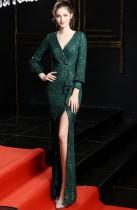 Pailletten V-Ausschnitt Langarm Slit Abendkleid
