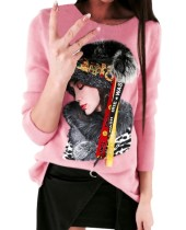 Character Long Sleeves Round Knitting Top