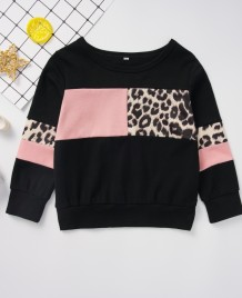Kinder Mädchen Leopardenmuster Langarm Shirt