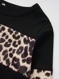 Camisa de manga comprida infantil com estampa de leopardo
