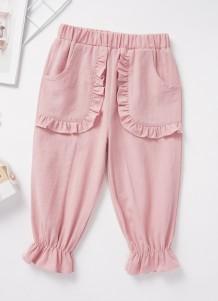 Crianças menina rosa plissado calças