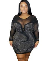 Plus Size Beaded Bodycon Party Dress