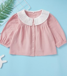Camicia per bambina con volant rosa