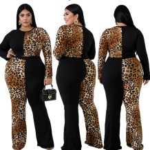 Plus Size Leopard Crop Top and Pants Set