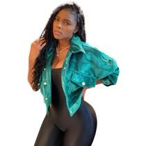 Yeşil Kadife Düğmeli Kısa Ceket