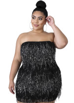 Plus Size Sequins Strapless Fringe Dress