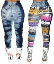 Calças coloridas apertadas de cintura alta