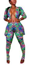 Conjunto de pantalón y chaqueta de manga larga estampado de colores