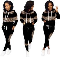 Long Sleeves Leopard Hoody Trainingsanzug