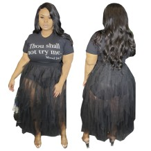Plus Size Black Mesh Skirt