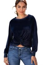 Camisa cruzada de terciopelo con cuello redondo