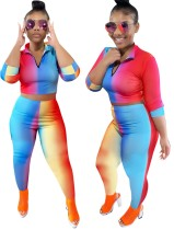 Sexy Tight Colorful Crop Top and Pants