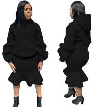 Plain Solid Hoody Top and Mermaid Skirt Set