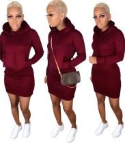 Einfarbiges, langärmliges Kapuzen-Kleid