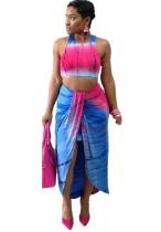 Sexy Batik Crop Top and Irregular Skirt