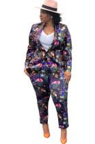 Conjunto de pantalón y blazer de manga larga con estampado floral