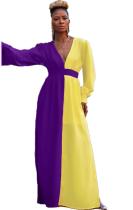 Contrasterende maxi-jurk met V-hals en volledige mouwen
