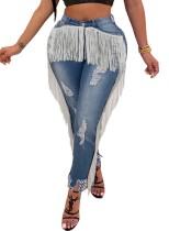 Sexy Jeans mit hoher Taille und Fransen