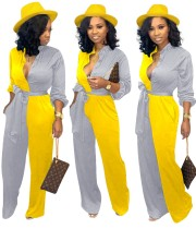 Casual Contrast Long Sleeve Jumpsuit with Belt