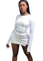 Camicia e minigonna a contrasto girocollo sexy