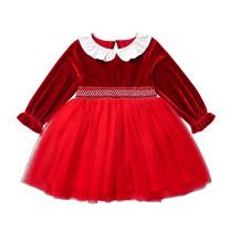 Vestido de cumpleaños rojo para niña niña