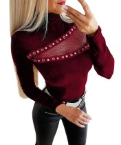 Red Sexy Patchwork Tight Shirt