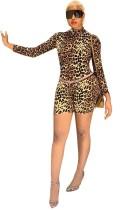 Mamelucos bodycon de manga larga con estampado de leopardo