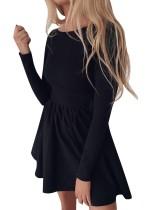 Einfarbig Langarm plissiertes Kleid