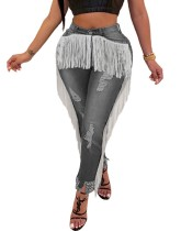 Jeans de franja de cintura alta sexy