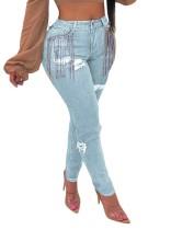 Jeans de flecos rasgados de cintura alta sexy