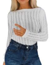 Sexy Long Sleeve Beaded Basic Top